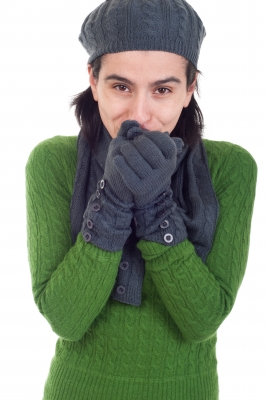 Woman with Gloves and Sweater