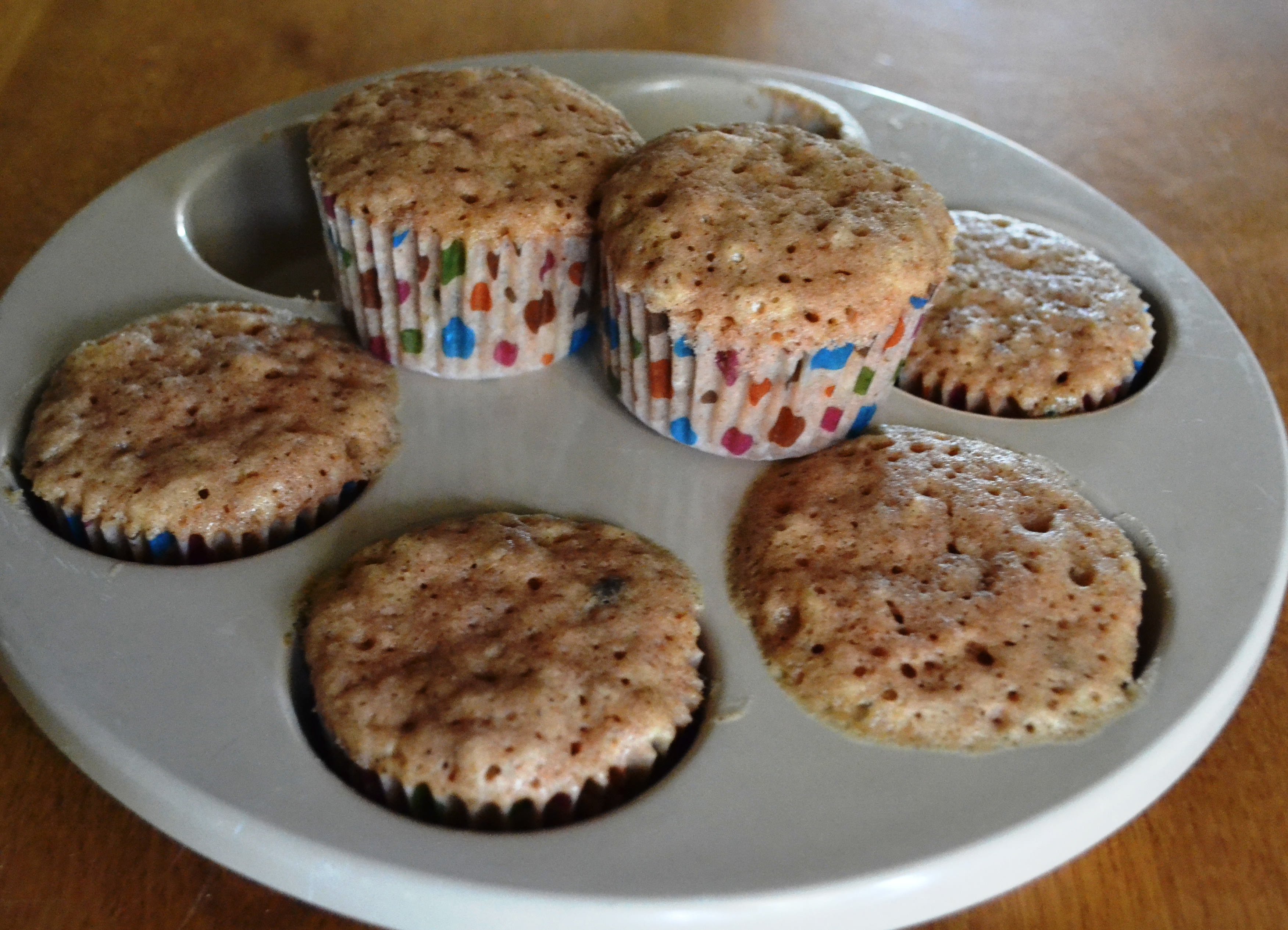 Microwave Muffins with two displayed on pan